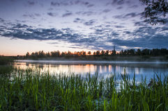 River. Sunset at river Emajõgi Royalty Free Stock Images