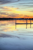 River at sunset hdr. River at sunset with dock hdr image Royalty Free Stock Photos