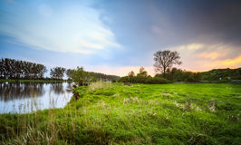 River at sunset long exposure. Photography. Gorzow Wielkopolski, Poland Royalty Free Stock Image
