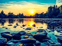 River sunset. Sunset mountain river Royalty Free Stock Photos
