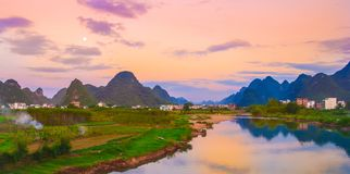 River in sunset Royalty Free Stock Photography