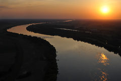 River at sunset seen from a bird's eye Royalty Free Stock Image