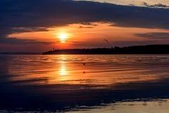River sunset sky clouds sun Stock Photos