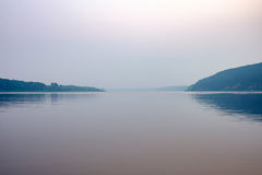 River at sunset. Summer.August. Health and peace. Fog over the river. clear sky Royalty Free Stock Photos