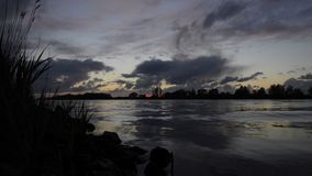 River sunset timelapse stock video footage