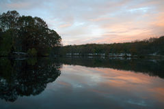 River Sunset at Van Cortlandt Park in the Bronx Royalty Free Stock Photo