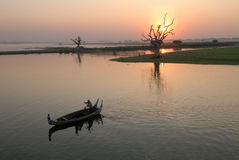 River sunset view. Sunset view with a boat on Irrawaddy river Stock Images