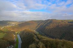 River Sure Valley, Luxembourg. River Sure valley in Luxembourg from Bourscheid Castle Royalty Free Stock Photo