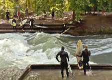 River surfing in Munich Stock Image