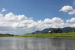 The river and surrounding landscape. I was shooting in the countryside and the river, and its surrounding mountains sky and homes, in late summer Stock Photo