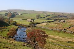 River Swale, upper Swaledale, Yorkshire Dales, UK stock photography