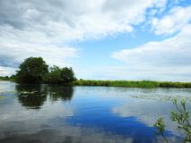 River Sysa and beautiful cloudy sky, Lithuania Royalty Free Stock Photography