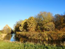 River and beautiful autumn trees, Lithuania royalty free stock image