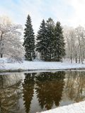 River Sysa and snowy trees in winter , Lithuania Stock Photography