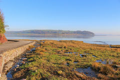 River Taf estuary, Laugharne, Wales. The poet Dylan Thomas boathouse and Laugharne Castle are set at the mouth of the river Taf Stock Images