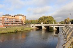 River Taff and bridge in Cardiff, Wales, UK Royalty Free Stock Photography