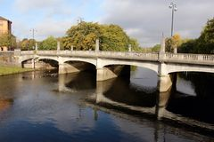 River Taff and bridge in Cardiff, Wales, UK Stock Images