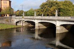 River Taff and bridge in Cardiff, Wales, UK Stock Photo