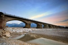 River Tagliamento the bridge  of Braulins Italy Royalty Free Stock Photos