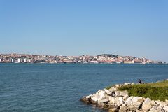 River tagus with Lisbon city on the background.  stock photography