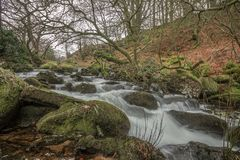 The river Taw, Devon UK. The River Taw rises at Taw Head, a spring on the central northern flanks of Dartmoor, crosses north Devon and close to the sea at the Royalty Free Stock Photo