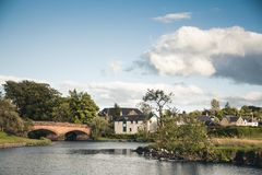 River Teith and bridge in the village of Callander, Scotland.  royalty free stock images