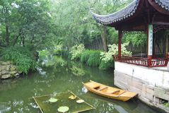 River temple. Chinese temple next to a river in China Stock Image