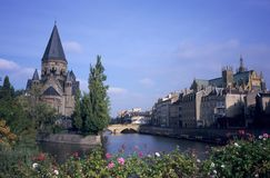 River and Temple neuf church Metz town Royalty Free Stock Images