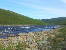 River Teno at Lapland Finland. Salmon river, nature, fishing, hill, fjell Royalty Free Stock Images