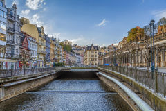 River Tepla in Karlovy Vary, Czech republic. Embankment of Tepla river in Karlovy Vary, Czech republic Stock Images