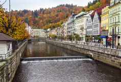 River Tepla, Karlovy Vary. Embankment of Tepla river in Karlovy Vary stock photos