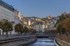 River Tepla in Karlovy Vary. Embankment of Tepla river in Karlovy Vary, Czech republic Stock Images