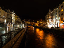 River Tepla in Karlovy Vary at night Stock Photos