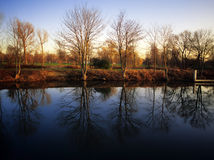 River thames. A view of  the playing fields of eton and the river thames Stock Photography