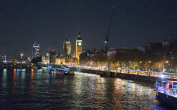 River Thames with Big Ben and Houses of Parliament at night Royalty Free Stock Photography