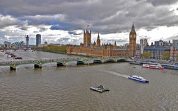River Thames and Big Ben. View of the River Thames and Big Ben from the London Eye Stock Photos