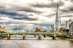 River Thames, Bridges and The Shard, London Royalty Free Stock Images