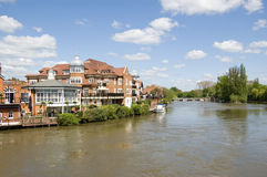 River Thames at Eton, Berkshire. View from Windsor Bridge of the River Thames with Eton on the left hand side royalty free stock photo