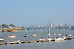 River Thames at Greenwich Peninsular. London. England Stock Photo