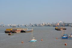 River Thames at Greenwich Peninsular. London. England Royalty Free Stock Photo
