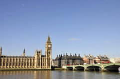 River Thames and Houses of Parliament, London. River Thames at Westminster Bridge with Houses of Parliament, London Stock Photo