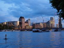 The River Thames with Lambeth Bridge and the architectural buildings of the south bank at dusk. View of the River Thames with Lambeth Bridge and the Stock Image