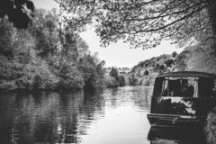 River Thames Landscape View of Manor with Boat . Black and White stock images