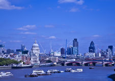 River Thames in London. With shipping and major buildings Royalty Free Stock Photo