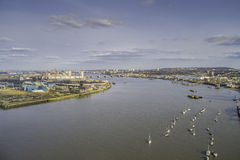 River Thames in London. Aerial view of the River Thames in London royalty free stock photography