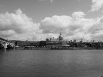 River Thames in London black and white. LONDON, UK - CIRCA JUNE 2017: Panoramic view of River Thames in black and white stock image