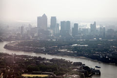 River Thames and London Docklands on a Foggy Day Stock Images