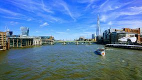 The River Thames London. Looking up the Thames London England royalty free stock image
