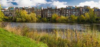 River Thames in London. Nice houses along the river Thames in a park in London Royalty Free Stock Photo