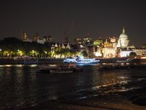 River Thames in London at night Royalty Free Stock Images